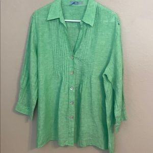 Foxcroft size 16 linen green blouse